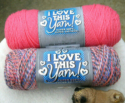 I LOVE THIS Yarn! by Hobby Lobby - BLUSHING SUNRISE and TROPICAL PINK (5 &  7 oz)