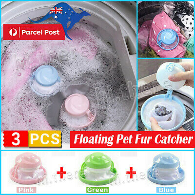 3PCS Floating Pet Fur Catcher Reusable Hair Remover Tool for Washing Machine Bag