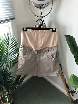 JEANSWEST Size 8 Women's Ladies MATERNITY Pregnancy SHORTS Beige STRETCH COTTON