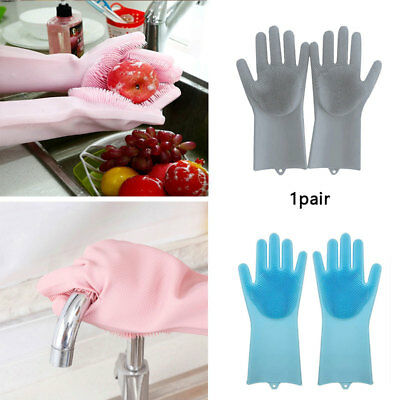 Magic Silicone Rubber Dish Washing Gloves 2 in 1 Scrubber Cleaning Scrubbing
