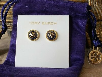 0f6f8caaff9bd TORY BURCH MELODIE STUD EARRINGS NAVY BLUE Tory Gold NWT+ POUCH -  50.00