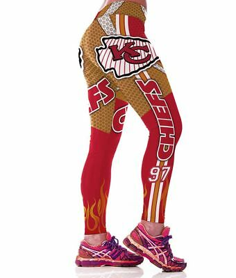 best service f7af4 02ed9 KANSAS CITY CHIEFS leggings S/M-XXL (4-16) Football Game Wear Fan Gifts  Womens