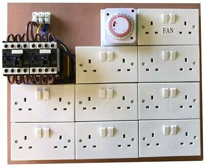 16 Way Lighting Contactor Board With Timer + 2 x Permanent + 2 x 40A Contactors.