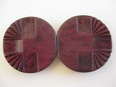 Art Deco Ladies Dark & Light Purple / Maroon Vintage Interlocking Belt Buckles