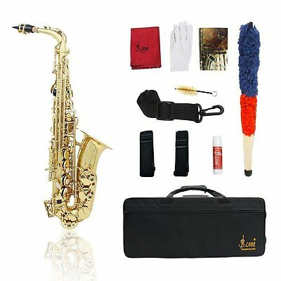 Professional Eb Alto Sax Saxophone Learning Paint Gold w/ Case & Accessories UK