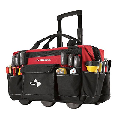 HUSKY 14 IN. Rolling Tool Tote with Bonus 12 in. Bag top quality ... 18bcfe66a447b
