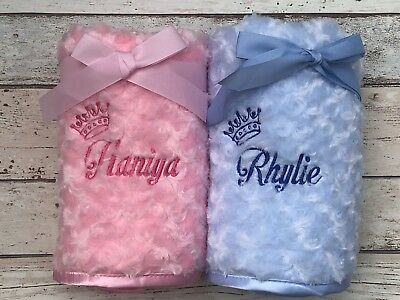Personalised Baby Blanket Luxury Soft Fluffy Embroidered Crown Newborn Gift