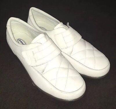 NEW DR SCHOLLS Double Air Pillo Insoles White Leather Shoes Loafers Women s  ... e54f5f324a9