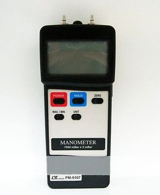 Digital PM-9107 Manometer  Dual&Differential Input 7000mbar LUTRON Industrial A2