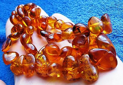 Natural Baltic Amber 46 gr Honey cognac Butterscotch Necklace Beads 老琥珀 USSR