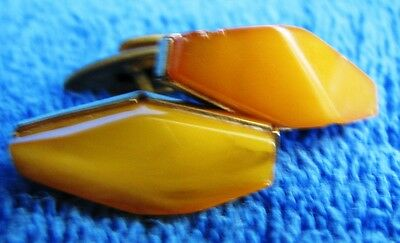 Natural Baltic Amber 7 gr cufflinks 老琥珀 gemstone USSR Russia jewelry gold plated