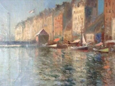 Antique Oil Impressionist painting by Pierre FOREST early 20th Century Seascape