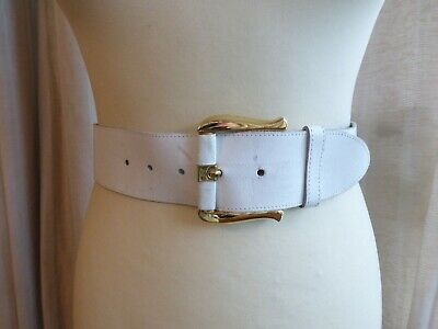 Vintage 80s thick white leather gold pattern wide waist belt 6 8 10 VGC