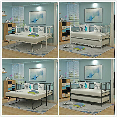 2ft6/3ft Single Metal Day Bed Sofa Bed Guest Bed Frame with Pull Out Trundle