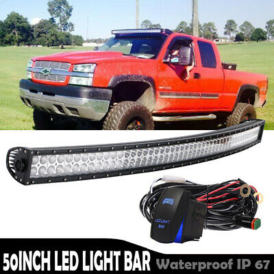 """Curved Offroad 700W 50inch LED Light Bar Combo Truck Roof Driving 52""""W/Wiring"""