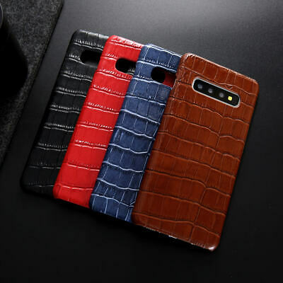For Samsung Galaxy S10/S10 Plus Real Leather Crocodile Pattern Back Case Cover