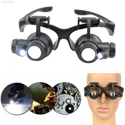799F Jeweler Watch Repair Magnifier Double Eye Glasses Loupe LED Light Black