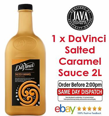 DaVinci Salted Caramel Sauce 2L Etching Milkshake Drizzle Frappe Coffee Topping