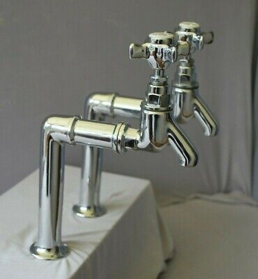 Chrome Tall Bib Taps Long Reach Retro Chrome Taps Reclaimed & Fully Refurbished