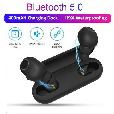 Wireless Bluetooth V5.0 Stereo Headset Mini Earphone Earbuds W/Charging Dock