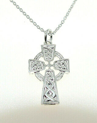 Solid 925 Hallmarked Silver 21Mm X 9Mm Heavy Celtic Cross - Chain Optional