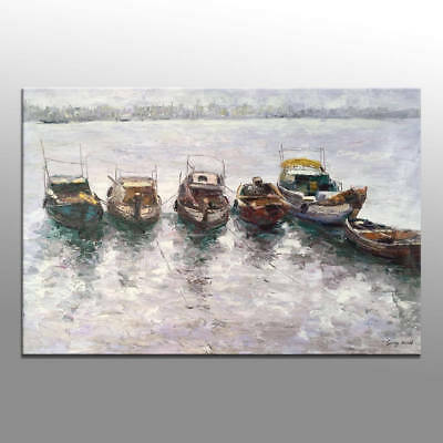 Modern 100% HandPainted Oil Painting Boat Abstract Art Home Decor Wall Canvas