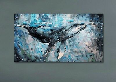 Large Abstract Whale HandPainted Oil Painting Modern Home Decor Wall Canvas Art