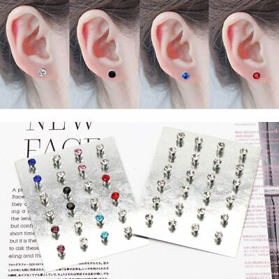 12 Pairs Fashion Jewelry Crystal Rhinestone Magnetic Clip Non Piercing Earrings