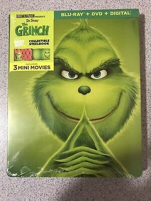 Illumination Pre: Dr. Seuss The Grinch Limited Ed. Steelbook Blu-Ray+DVD+Digital