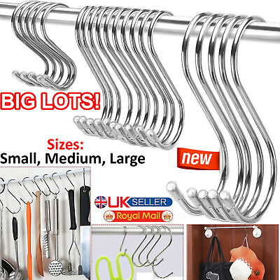 Stainless Steel S Hooks 10/20/30/40/50 Kitchen Utensil Clothes Hanger Hanging UK