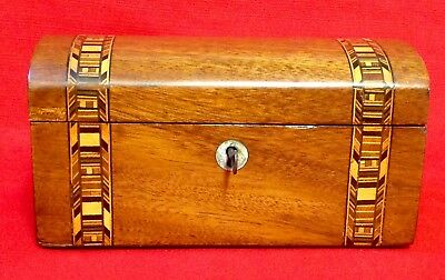 Victorian Walnut & Parquetry Tea Caddy, Lovely Patina, Two Sections With Lids