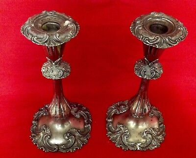 """Antique Pr Of Decorative Silver Metal Shell Base Candlesticks, Height 9"""" (23cm)"""