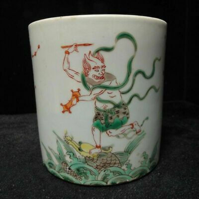 Antique Chinese Famille Verte Hand Painting Figures Porcelain Brush Pot