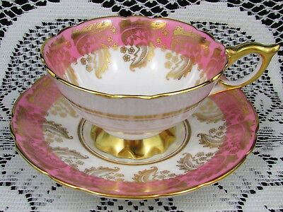 Royal Stafford Candy Pink Fancy Gold Gilt Designs Tea Cup And Saucer