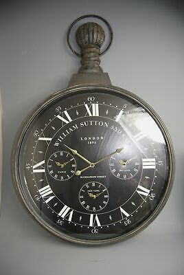 Clock Extra Large Vintage style William Sutton Distressed Black Brown Wall Clock