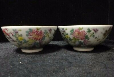 """Pair of Old Chinese Beautiful Hand Painting Porcelian """"QianLong"""" Bowls"""