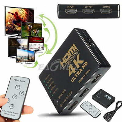 HDMI Switcher 5 In 1 Out Audio Extractor 4K x2K Hub Splitter For 1080P HDTV Box