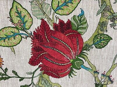 Bukhara Exotic Floral 100% Linen Jungle Fabric in Ruby | Curtains/Upholstery