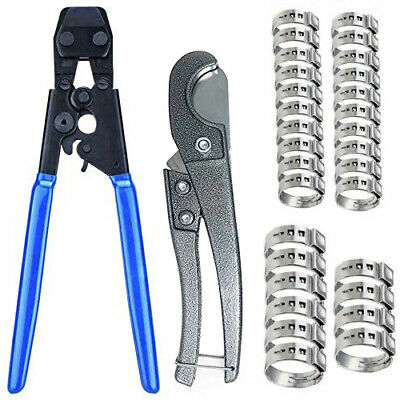 """PEX CINCH CRIMPING TOOL + 30 1/2"""" and 3/4"""" SS CLAMPS"""
