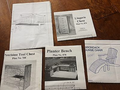 Lot Of 5 Woodworking Project Paper Plan/blueprints Bench Chair Tool Chest
