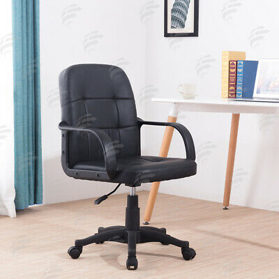 Black Mesh/Leather Swivel Executive Office Chair Computer Desk Chair