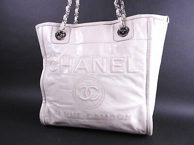 5743215dd1fa Auth CHANEL Deauville PM Chain Shoulder Tote Bag Leather Ivory A93526 A-8580