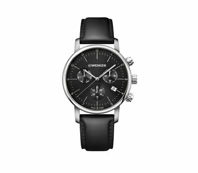 WENGER Men Urban Classic Chrono Black Leather Strap Day Date Watch NWT 275$+TAX
