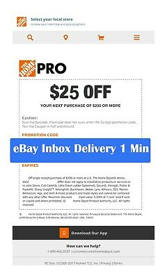 1x~~ONE~ Home Depot $25 off $200Coupon In-Store Only--Super-Fast-1min~~