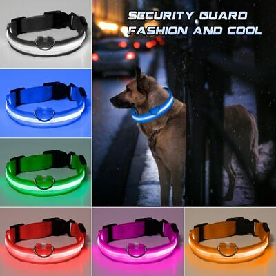 LED Dog Collar USB Rechargeable Glowing Flashing Night Light Waterproof Collars