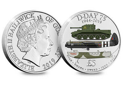 2019 Guernsey - D-Day 75th Anniversary £5 Five Pound Coin Coloured in Capsule