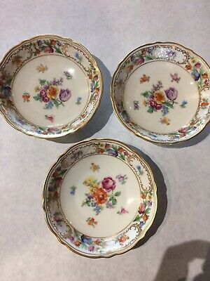 set of 3 schumann empress dresden flowers Berry Bowls