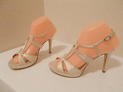 f4d8fe8f668 Adrianna Papell Gold Strappy Sandals Heels Shoes Women s Size 7M Nice!