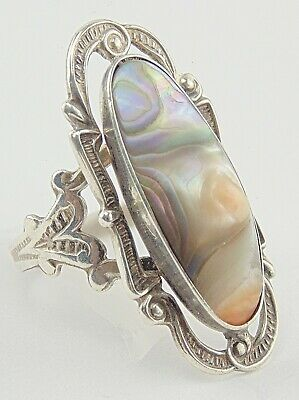 Art Deco Sterling Silver 925 Abalone Blister Pearl Band Ring Size 5