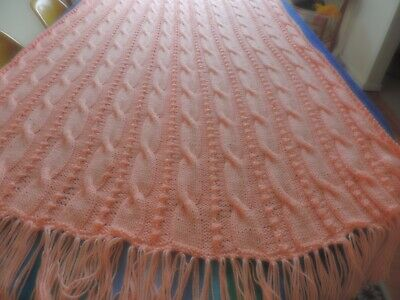 Peach color Hand Knit Acrylic Afghan,Cable and Bobble pattern with Fringe 73 by